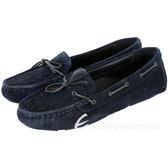 BOTTEGA VENETA 麂皮編織綁帶莫卡辛鞋(深藍色) 1510380-34