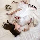 白色洋裝—夏季民族風刺繡流蘇雪紡衫寬鬆加大碼胖MM遮肚T恤上衣打底衫200斤 korea時尚記