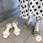 涼鞋女粗跟夏新款百搭一字扣帶珍珠中跟高跟鞋女鞋【大碼百分百】