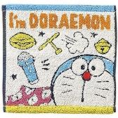 小禮堂 哆啦A夢 純棉無捻紗方巾 手帕 小毛巾 25x25cm (藍黃 半臉) 4992272-70004