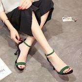 【優選】正韓百搭高跟鞋女細跟黑色金屬扣露趾涼鞋