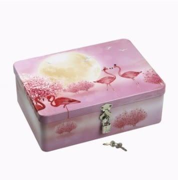 鐵盒帶鎖鐵盒存錢小箱子 加厚小型保險箱家用辦公 密碼儲物箱收納盒子 時尚新品