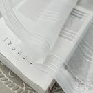 紗簾 窗紗遮光免打孔魔術貼百搭條紋紗成品家用陽臺飄窗客廳白紗 快速出貨