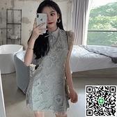連身裙改良版旗袍連衣裙子法式設計感小眾夏季【海闊天空】