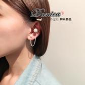 夾式耳環 現貨 韓國氣質時尚珍珠鍊條U型 夾式耳環(2色) S92359 單個價 批發價  Danica 韓系飾品