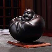 招財彌勒佛原創擺件工藝品佛像黑檀木雕搖錢佛辦公桌裝飾品  艾維朵  igo