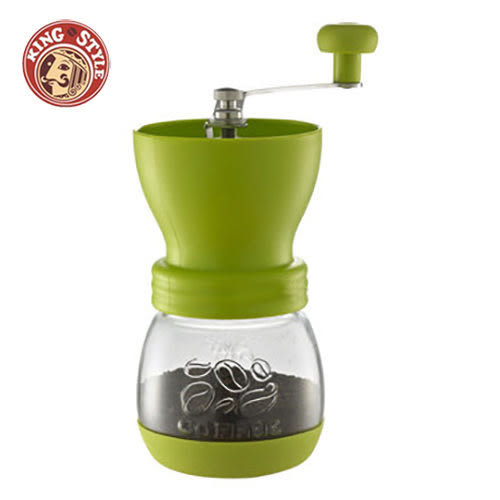 金時代書香咖啡 Tiamo 密封罐陶瓷 手搖磨豆機 雕花密封罐設計 綠色