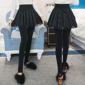 加絨褲子假兩件加絨打底褲裙褲女2018秋冬季加厚蕾絲保暖踩腳帶裙連褲裙子