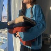 軟奶藍毛衣女秋冬新款韓版時尚百搭小個子洋氣磨毛套頭針織衫學生 雅楓居