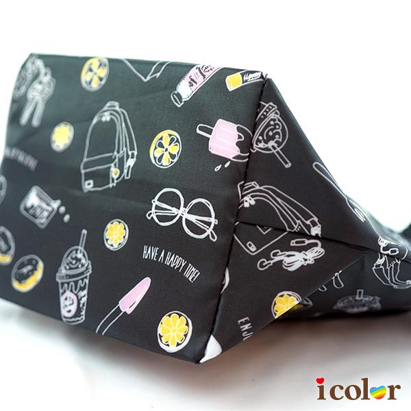 icolor 手繪風船型保冷保溫便當袋 購物袋