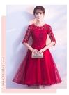 新款尾牙結婚時尚紅色晚禮服時尚連身裙百搭秋冬季小個子洋裝 YN3476『寶貝兒童裝』