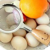 ✭米菈生活館✭【Q76】笑臉原木不鏽鋼漏勺 ZAKKA 粉篩 過濾 油勺 油網 漏網 濾網 廚房 烘焙 料理