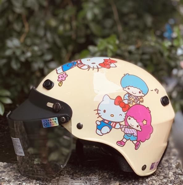 HELLO KITTY安全帽,K825,KT#01/黃,附抗UV-PC安全鏡片