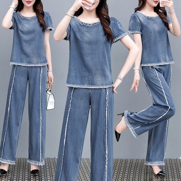 VK精品服飾 韓系休閒牛仔寬口褲時尚高腰顯瘦套裝短袖褲裝