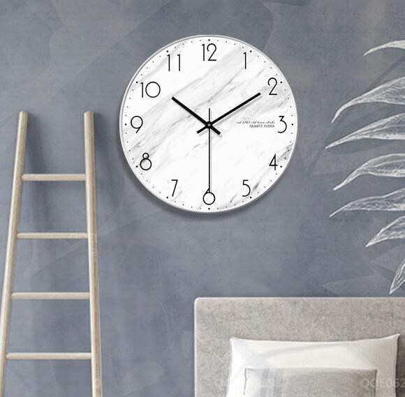 北歐大理石紋理掛鐘 歐式現代簡約時鐘個性創意客廳時尚鐘表壁鐘   蜜拉貝爾