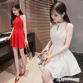 夜店女裝 夜店女裝2020夏季韓版性感小禮服露肩露背掛脖修身顯瘦收腰洋裝