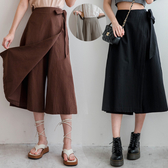 MIUSTAR 接片式綁帶鬆緊寬褲裙(共3色)【NH2047】預購