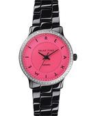 Relax Time 迷你馬卡龍晶鑽陶瓷腕錶-粉紅x黑/30mm RT-55-8