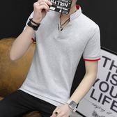 夏季有翻領男士短袖t恤學生個性青年潮流男裝修身韓版日系polo衫   檸檬衣舍