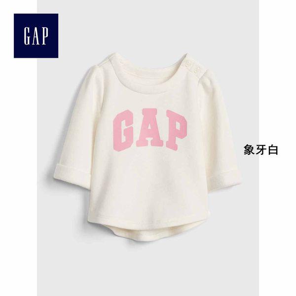 Gap女嬰兒 LOGO刷毛休閒上衣 寶寶圓領長袖套頭童裝 401796-象牙白
