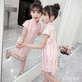 女童連身裙2020夏裝新款洋氣短袖民族風復古公主裙中大童旗袍紗洋裝 yu12982『寶貝兒童裝』