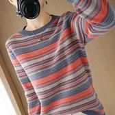 大碼長袖針織衫~彩條針織衫女圓領寬松短款套頭毛衣打底衫19A莎菲娜