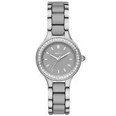 DKNY 蝶戀尤物晶鑽陶瓷腕錶-銀x雙材質錶帶