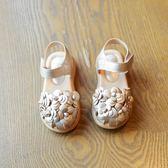 女童涼鞋2018春夏新款女童包頭花朵寶寶公主涼鞋牛筋軟底防滑涼鞋『潮流世家』