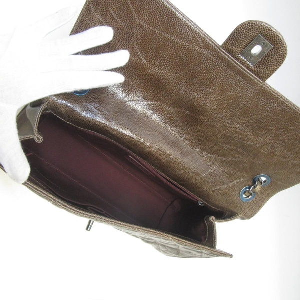 CHANEL 香奈兒 咖啡色荔枝牛皮肩背包 Flap Chain Shoulder Bag【BRAND OFF】