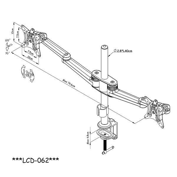 [福利資訊]OUTSTANDING LCD-062 穿夾兩用雙臂加長螢幕支架(終身保固)(和順電通)