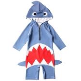 兒童泳衣 兒童泳衣男童女孩連體鯊魚防曬速幹嬰兒小童寶寶1-3歲長袖游泳裝 寶貝計書