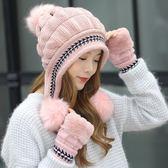 毛帽女冬天加厚保暖護耳針織半指時尚韓版潮兔毛帽 Ic2781【Pink 中大尺碼】