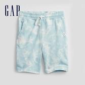 Gap男童 潮酷紮染運動直筒褲 696907-淺藍色