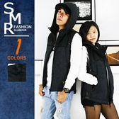 外搭背心-拚色輕量鋪棉帽背心-超保暖情侶款《9997552》黑色【現貨+預購】『SMR』