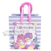 〔小禮堂〕雙子星 方形手提紙袋《XS.白紫.橫紋》包裝袋.送禮紙袋.手提袋 4714581-55256