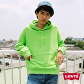 Levis 男款 口袋帽T / Oversize寬鬆版型 / 螢光綠全一色刺繡Logo