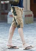 BIG TRAIN  加大軍事風貼袋短褲-男-卡其