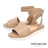 Tino Bellini巴西進口寬帶繫踝麻編厚底涼鞋_ 膚 C73405 歐洲進口款