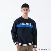 【GIORDANO】男裝YOUTH大學T恤 - 31 標誌藍