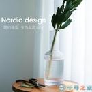 玻璃透明北歐輕奢創意家居擺設擺件客廳插花小口細【千尋之旅】