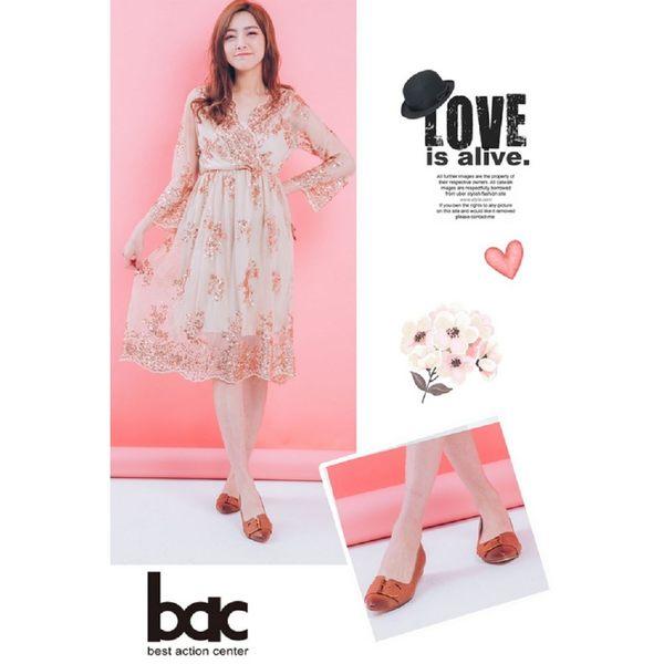 ★2018春夏新品★bac經典時尚金屬皮帶裝飾低跟鞋(棕色)