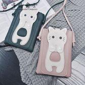 隨身包 小貓手機包女新款迷你小包包正韓可愛小方包百搭單肩包斜挎包【全館限時八折搶購】