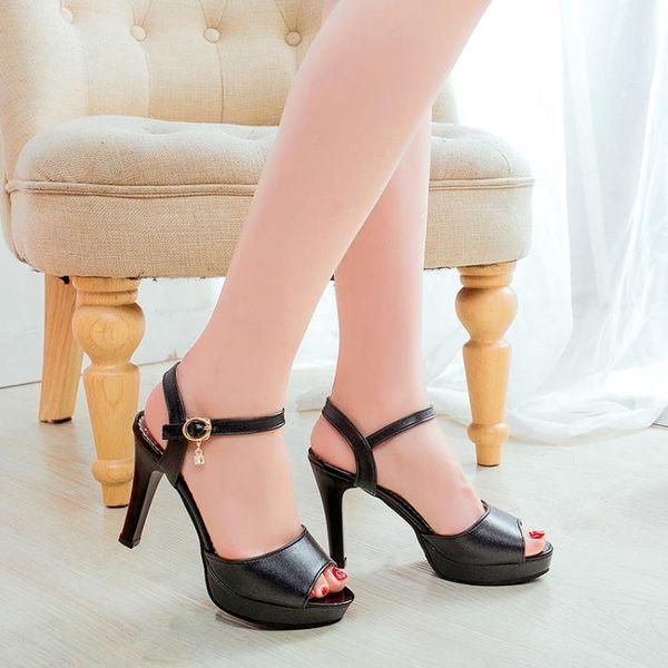 春季上新 2018新款韓版粗跟涼鞋女夏季中跟魚嘴高跟鞋水?一字帶夏天女鞋