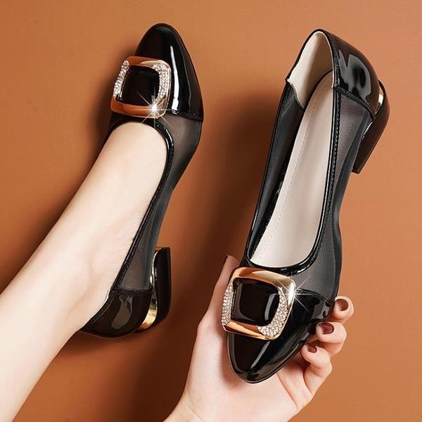 低跟鞋 平底包頭涼鞋女2021新款足意爾康低跟鏤空網紗單鞋春款漆皮瓢鞋女