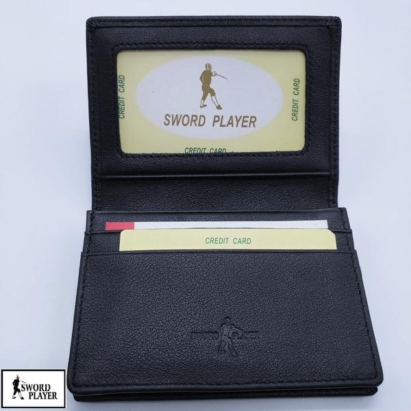 名片夾進口牛皮十字紋真皮名片夾 SP-F3709(SWORD PLAYER)