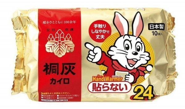 【日本 小林製藥】24小時 桐灰小白兔暖暖包 手握式暖暖包 (10片/包)