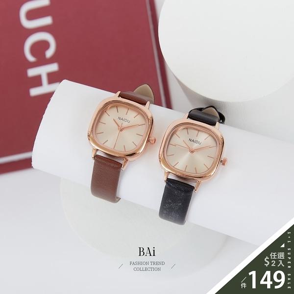 玫瑰金方框刻度皮質手錶-BAi白媽媽【316150】