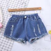 女童牛仔短褲韓版時尚潮夏季破洞褲中童大童小孩褲子兒童 深藏blue