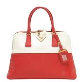 PRADA 普拉達 紅x白色防刮牛皮手提包 Bicolor Promenade Bag【BRAND OFF】