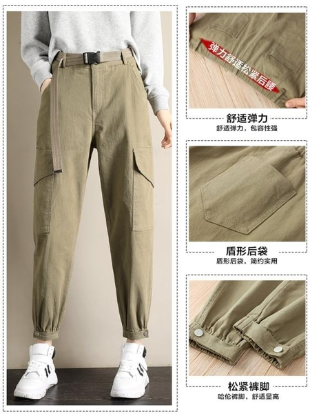 束腳休閒蘿蔔工裝褲子女年寬鬆bf顯瘦高腰直筒女褲  潮流衣舍